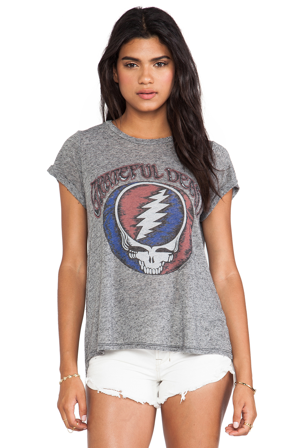 Lauren Moshi Edda Grateful Dead Vintage Roll Up Tee in Black | REVOLVE