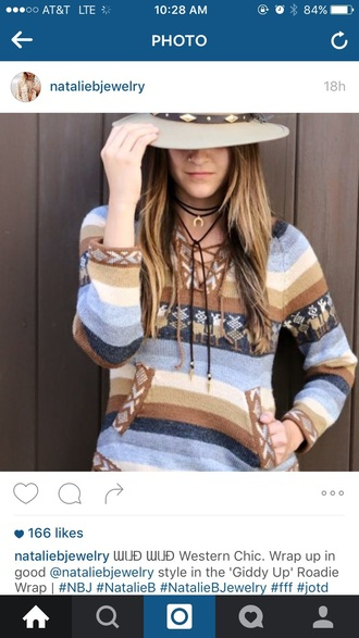 shirt aztec sweater aztec country western top