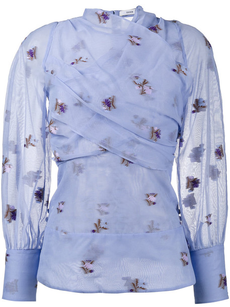 blouse embroidered women floral cotton silk purple pink top