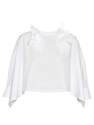 top floral cotton white