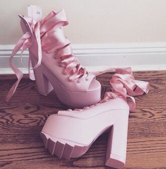 shoes ribbon laces pink ballet heels open toes pumps platform shoes