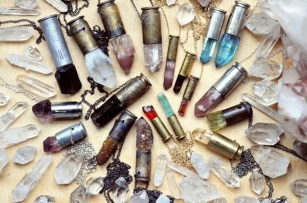 necklace bullet rock precious crystal quartz jewels