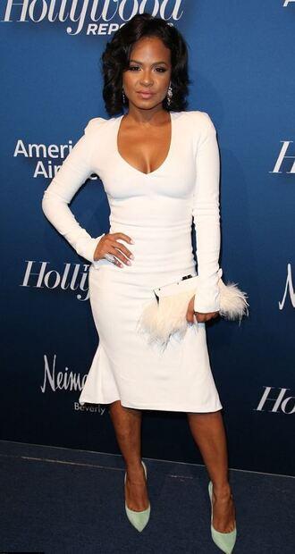 dress plunge dress christina milian pumps long sleeve dress white dress midi dress