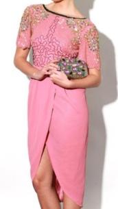 dress,pink dress,embellished,tulip dress