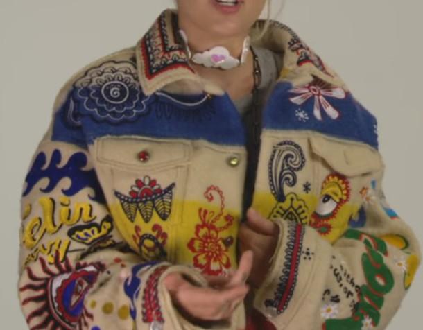 jacket indie coat colorful hippie miley cyrus