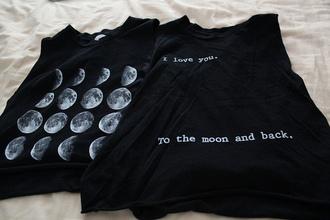 t-shirt noir lune blanc gris