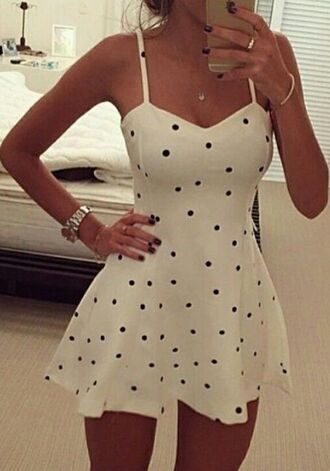 dress white dress summer polka dots summer dress black and white dress