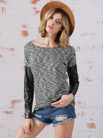 t-shirt leather colorblock grey