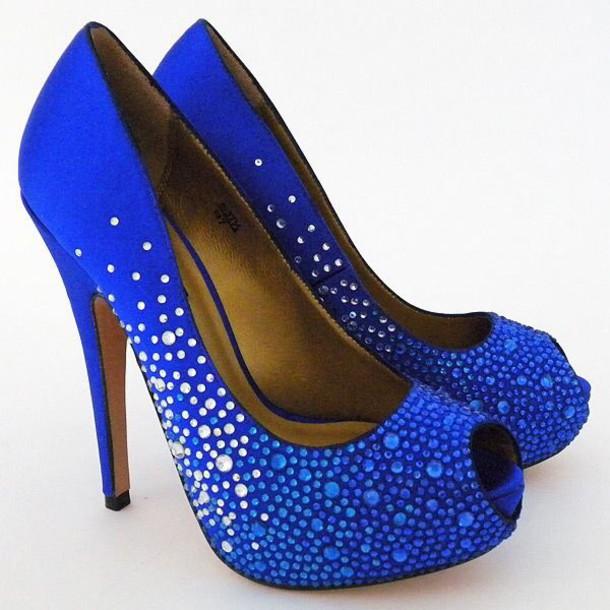 Shoes, Blue High Heels, Wedding Shoes