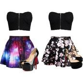 skirt,galaxy print,floral,skater skirt
