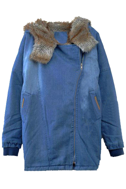 ROMWE   Thicken Fur Winter Denim Coat, The Latest Street Fashion