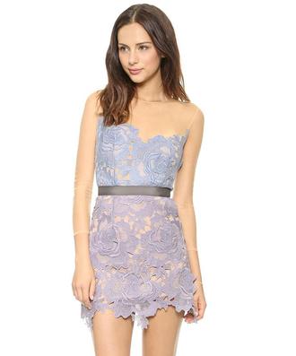 mesh lace dress blue pastel purple
