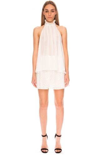 blouse ruffle top halter top halter neck sheer