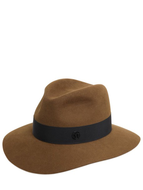 MAISON MICHEL Henrietta Rabbit Fur Felt Hat in tan