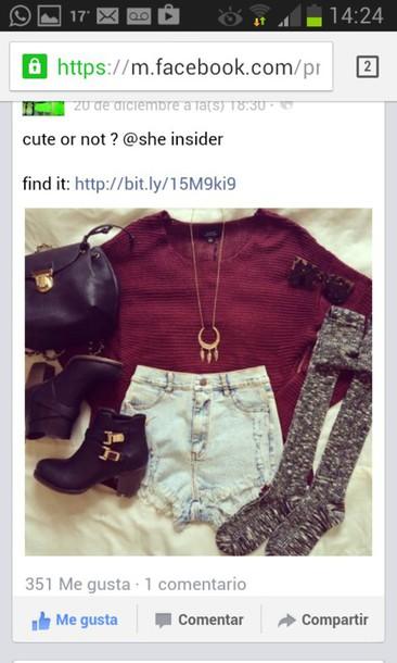 shorts shoes sweter socks bag cardigan blouse jewels