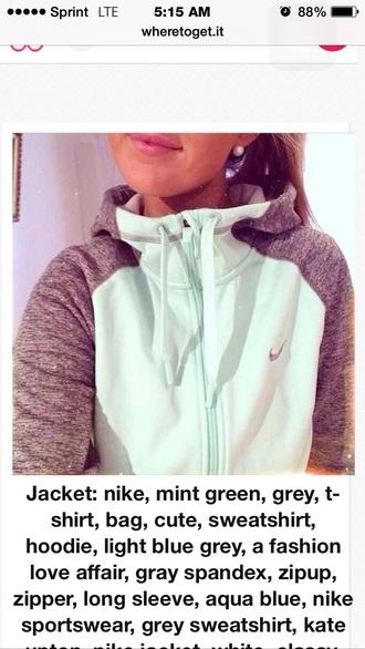 sweater jacket: nike mint green