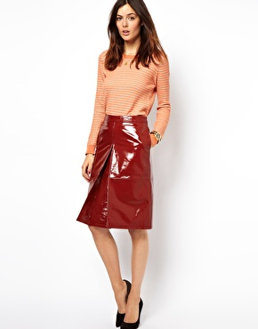 ASOS | ASOS A-Line Midi Skirt in Patent Leather at ASOS