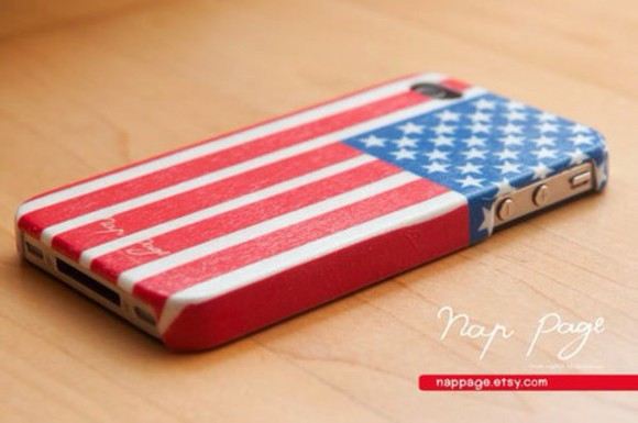 white usa flag american flag stars red jewels iphone case flag blue stripes