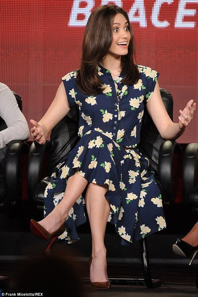 emmy rossum pumps floral dress dress