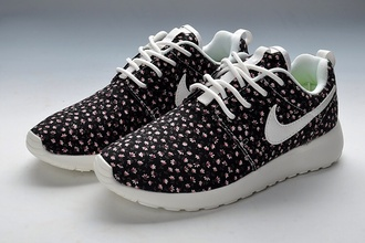 shoes nike running shoes nike roshe run flowers nike roshes floral flower patterns black pink