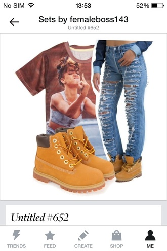 t-shirt rihanna jeans shoes