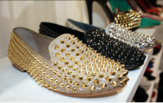 shoes loafers studs gold gold studs silver silver studs black glitter smoking slippers