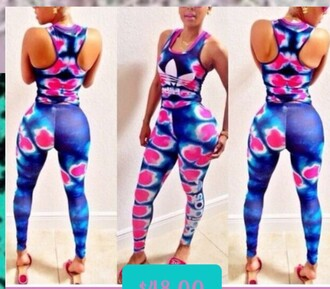 jumpsuit adidas tyedye pink white and blue 2 pc