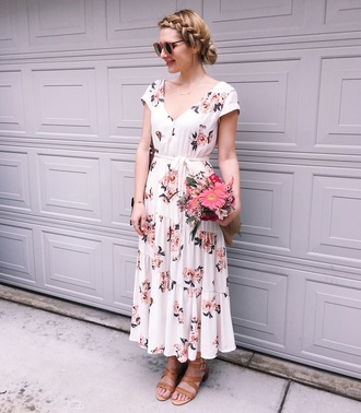 visions of vogue blogger dress shoes bag sunglasses jewels floral dress sandals white dress spring dress