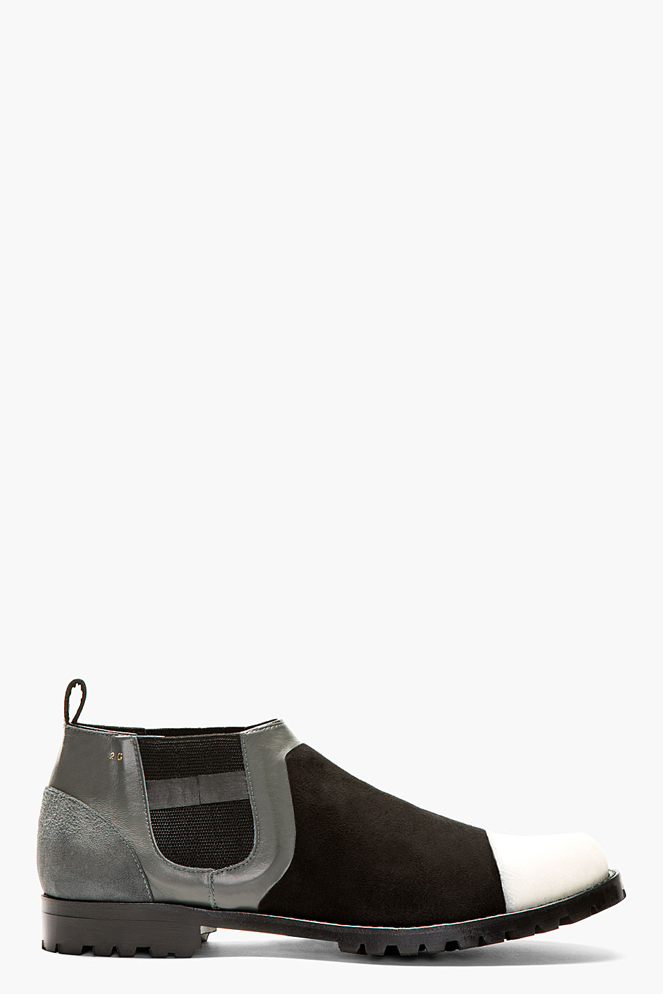 comme des garons homme plus black and grey textured panelled chelsea boots