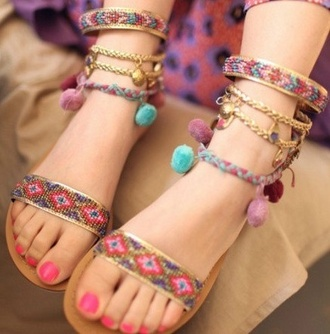 shoes beaded sandals pom pom pom poms pom pons anklet indian jewels