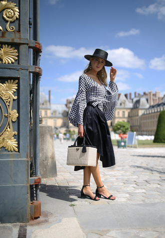 top black skirt tumblr gingham crop tops long sleeve crop top long sleeves wrap top skirt midi skirt sandals mid heel sandals bag prada bag prada hat shoes