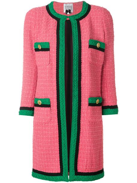 Edward Achour Paris jacket long women wool purple pink