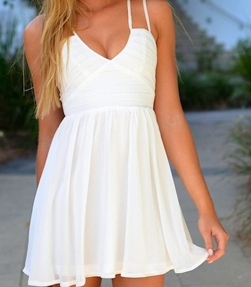 dress white dress flowy straps