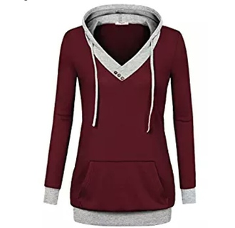 clothes pullover buttons cowl neck hoodie grey burgundy
