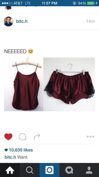 shorts pajama shorts burgundy red pajamas cute top