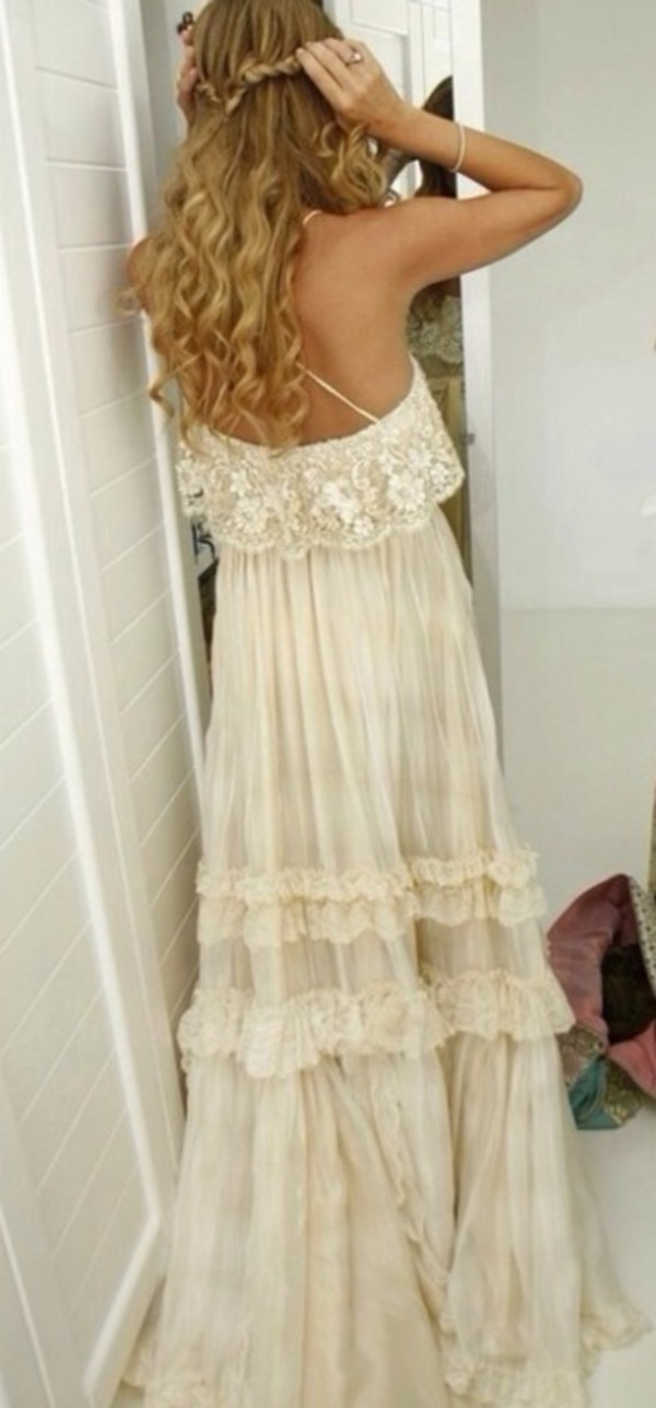 Dress Hippie Boho Vintage Lace Dress Gypsy Wedding Dress Prom Dress