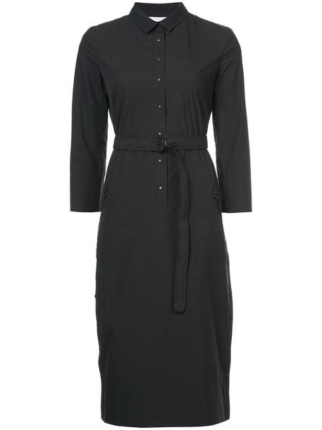 dress shirt dress women midi cotton black