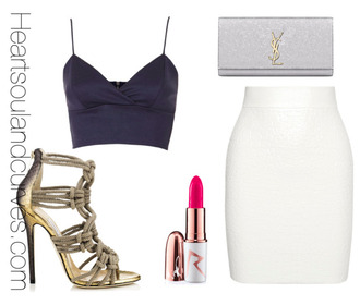skirt style polyvore classy fashion shoes jimmy choo black crop top high heel sandals pink lipstick white skirt ysl ysl bag