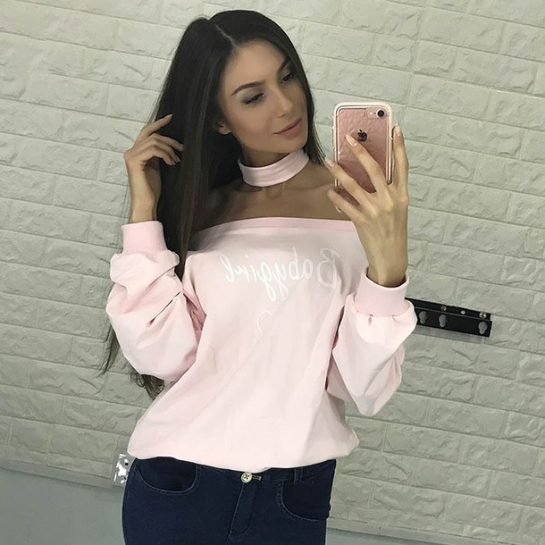 sweater chic chiclook closet chicityfashion dollskill omighty swag winter  swag swagg t shirt baby girl pink