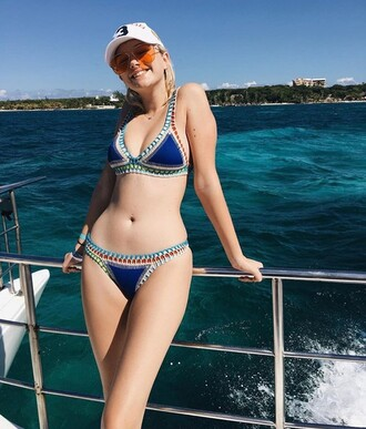 swimwear blue crochet bathing suit bikini colorful bikini maddi bragg crochet bikini sexy bikini