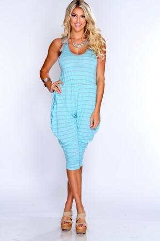 jumpsuit jumpsuits blue and white amiclubwear clothing summer clothing