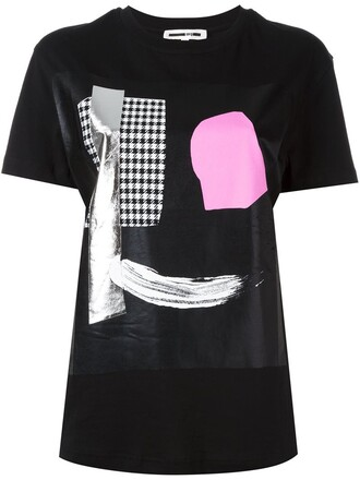 t-shirt shirt print black top