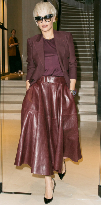 skirt top leather leather skirt rita ora burgundy blazer jacket midi skirt fall outfits