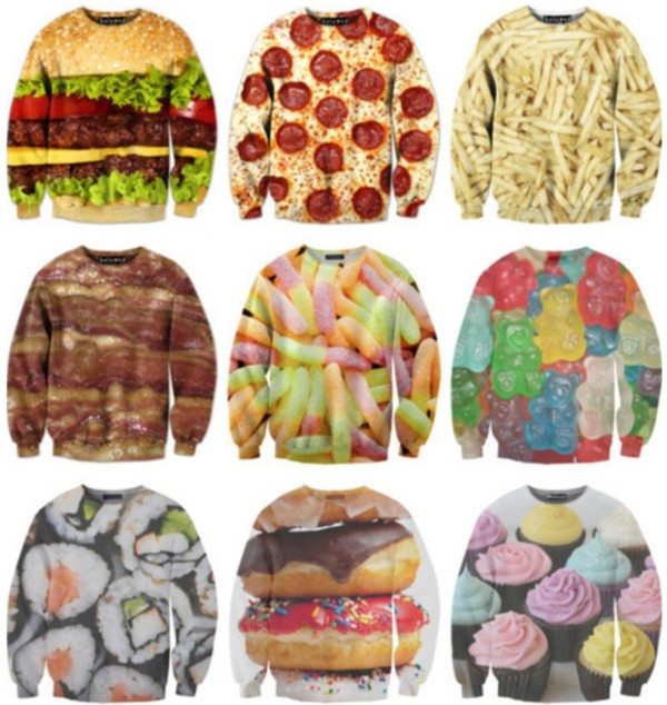 sweater sweaters cute print food yum