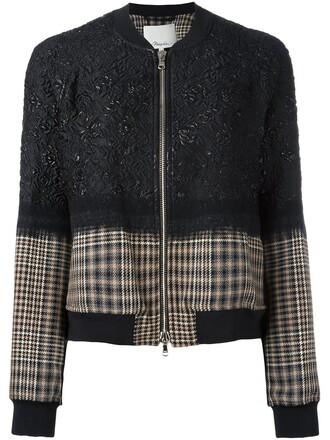 jacket bomber jacket women floral black silk wool