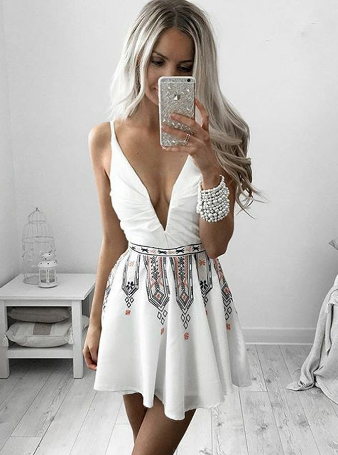 A-Line Deep V-Neck Sleeveless Short White Printed Chiffon Homecoming Dress