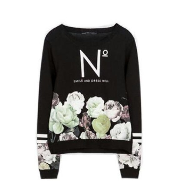 sweater black flowers