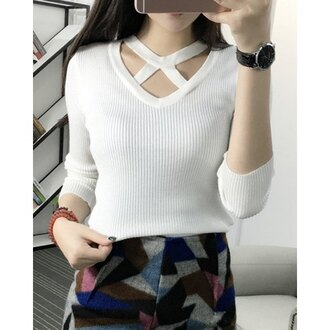sweater white fashion strappy style fall outfits trendy cute long sleeves winter sweater knitwear rose wholesale-jan