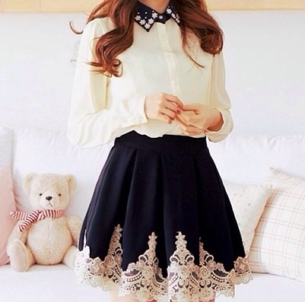 308a85fd8b skirt, black skirt, black skater skirt, black lace skirt, cute ...