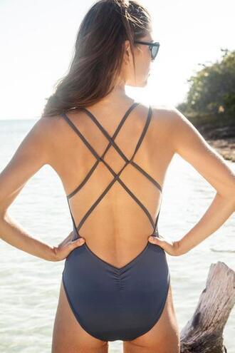 swimwear criss cross full coverage grey keyhole dress latina one piece swimsuit peixoto bikiniluxe